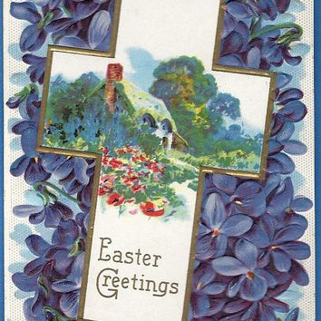 Vintage Easter Greetings Postcard, 1912 highly embossed Forget me nots