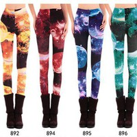 Blue Color Dream Series Galaxy Leggings [1034]