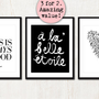 3 FRENCH PRINTS SET - Paris Is Always A Good Idea, A La Belle Etoile &amp; Je T&#x27;Aime (in Classic Black and White)