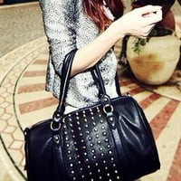 Stylish Studs Black Boston Handbag from THECOLLECTION
