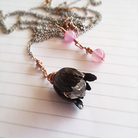 Whimsical Herkimer Diamond Quartz and Black Brass Tulip Lariat Necklace