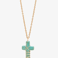 Natural Stone Cross Necklace | FOREVER21 - 1042886394