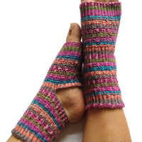 Toeless Yoga Socks Hand Knit in Spring Stripes Pedicure Pilates Dance