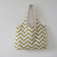 Green Chevron Tote, Moss Green Chevron Bag, Slouchy Chevron Beach Bag, Ready to Ship
