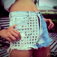 Studed Dyed high waist shorts