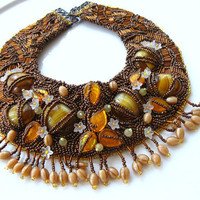 Unique Collar Necklace  Bead Embroidered OOAK by aysetugrul