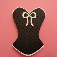 Corset Die Cuts, Corset Favors, Corset Lingerie Shower Decorations-Classic Black & White, set of 6