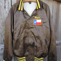 70s/80s Texas Rodeo Baseball Jacket, L-XL, Drill Team / Name &quot;Wayne&quot; // Men&#x27;s Shiny Brown Vintage Varsity Jacket