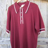 70s Burgundy Montgomery Ward Double Knit Polo Shirt, L-XL // Vintage Short Sleeve Shirt