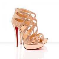 Nude Glitter Satin Sandals [TQL120305003] - $62.49 : wedding fashion, wedding dress, bridal dresses, wedding shoes