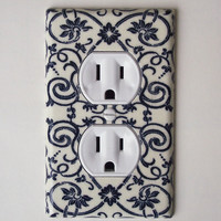 French Floral Scroll Navy &amp; Cream Outlet Plate, Wall Decor Plug Cover