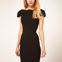 Sexy V-shaped Backless Flouncing Neckline Knee Length Womens Dress Cap Sleeve