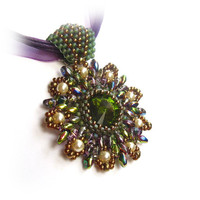 Beaded Crystal Rivoli Pendant