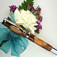 Handcrafted Wooden Pen Hand Turned Scalloped Thuya Burl and Madrome Burl and Chrome Hardware 410S
