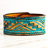 Turquoise Wristband Tribal Gypsy Fashion OOAK by rainwheel on Etsy