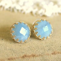 Elizabeth royal Real Aquamarine gem stone Earrings by iloniti