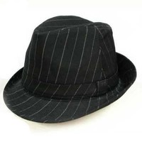 Luxury Divas Pinstripe Sexy Black Structured Fedora Hat