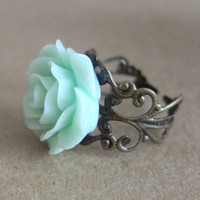 Mint Floral Rose Ring Antique Filigree Mint by ArisumiTreasures
