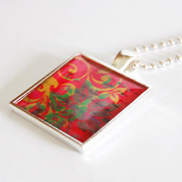 Batik Pendant, necklace, resin pendant, Abstract design, red, green, gold, pendant (2338)