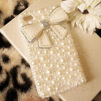 white Luxury  girly diamond Pearl Case bow Cover for iPhone 4 4S 4G WRD04