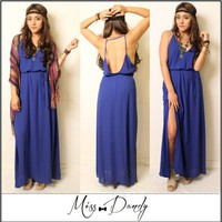 Lush Royal Blue Maxi Boho Bohemian Indie Hippie Gypsy Festival Dress Small S