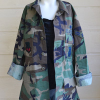 Vintage Military Camo Shirt Coat Jacket Camo Shirt Woodland Camo U.S. Air Force Camo Shirt