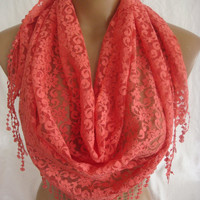 Coral Lace Triangle Scarf-ESCHERPE
