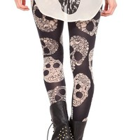 Gem Lace Floral Skull Leggings - 700012