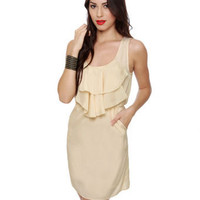 Cute Cream Dress - Ruffle Dress - Beige Dress - $36.00