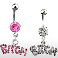 "Amazon.com: Belly Ring With Pink Gems and Dangling ""Bitch"" - 14G - 3/8"" Bar Length - Sold Individually: Jewelry"