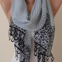 New - Mother&#x27;s Day Gift Scarf - Silk/ Chiffon with Black Trim Edge - Polka Dot and Leopard Print