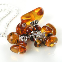 Baltic Amber and Sterling Silver Necklace Genuine Amber Pendant Necklace Golden Brown Honey Amber Necklace