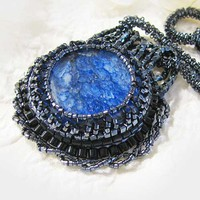 Bead Embroidered Agate Pendant Necklace Crystal Glass Blue Black
