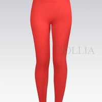 Amazon.com: New Women's Red Solid Color Winter Fashion Leggings - S/M - L04235390RD: Clothing