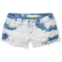 Almost Famous Hazel Novelty White &amp; Blue Denim Shorts