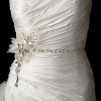 Bridal Belt with Couture Clear Crystal Feather Fascinator Clip
