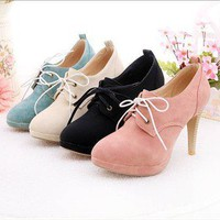 New women's lace-up vogue high heel shoes fashion 4 color