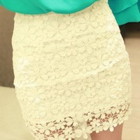 Lace with Floral Pattern Mini Skirt in White [5080]