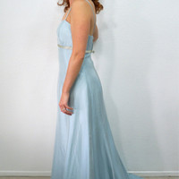 Gorgeous Maxi Glam Dress Pale Blue Alfred Angelo Spaghetti strap Floor-length Empire Bridesmaid Evening Party Floor Length