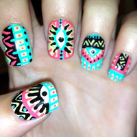 Pastel Tribal/Aztec eye nails by CompulsiveNails on Etsy