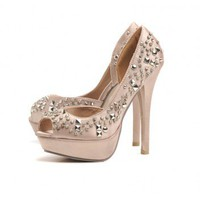 Studded Peep Toe  Shoe