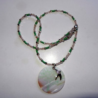 Light Pink and Mint Green Beaded Necklace with Bird Charm