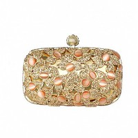 [147.96] Luxury Shiny Arylic Gems &  Rhinestones &  Stainless Steel Crust Gold Clutch Bags,Evening Handbags / Clutches - Dressilyme.com