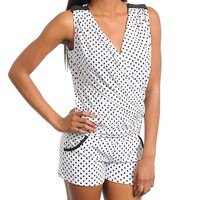 CHIC V-NECK POLKA DOT ROMPER