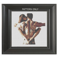 Pattern Erotic Cross Stitch Piggy Front Ride Sexy Couple Embrace Adult Mature Funny Hard Hugging Piggy Back Subversive DIY PDF Original