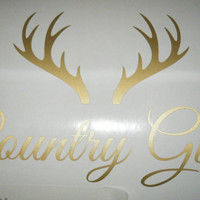 Country Girl with Deer Horns Free USA shipping-Buy 2 Get 1 Free- Girl Baby Nursery Bedroom Decor  Decal-Wall Decal-Window Decal-Car Decal