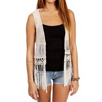 Cream Fringe Vest