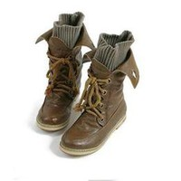 Wholesale Vintage Women Lace Up Flat Ankle Boots - DinoDirect.com