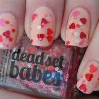 Nail Polish &quot;Lost in Love&quot; Red, Pink &amp; White hearts and matte glitter Full Size 12ml