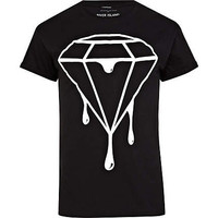 Black dripping diamond print t-shirt